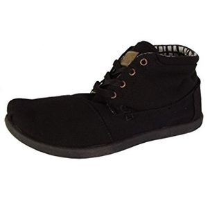 TOMS Black Canvas Lace Ups Booties Boots Casual